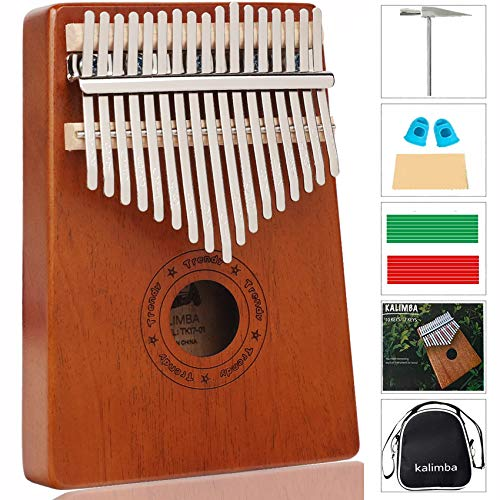 Kalimba 17 Keys Thumb Piano, Tune Hammer and Study Instruction, Portable Wood Finger Piano, Gift for Kids Adult Beginners Professional Music Instrument
