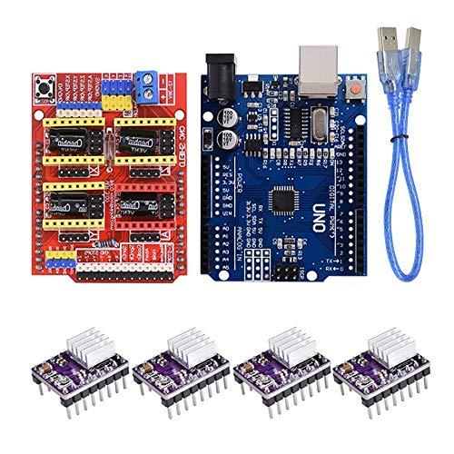 DTOYZ CNC Shield V3 Graviermaschine 3D-Drucker + 4pcs A4988 / DRV8825 / AT2100-Fahrer-Erweiterungskarten/Fit Für - a r d u i n o / + R3 Mit u-s-b-Kabel (Color : DRV8825 Kit)