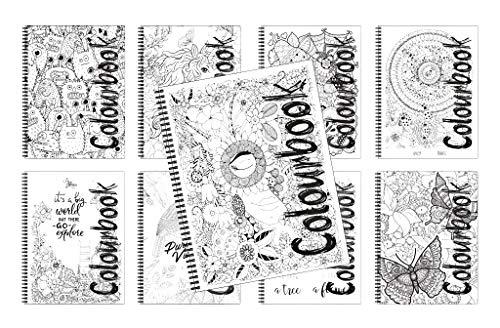 4 quaderni maxi spiralati Colourbook con Mandala in copertina quadretto da 4mm
