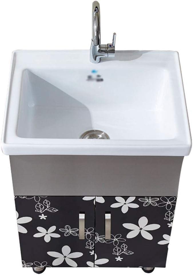XCJJ Lavabo de lavabo de cerámica con tocador de baño de acero inoxidable, lavadero/lavamanos y gabinete, tina grande para limpieza y lavado,61cm-a