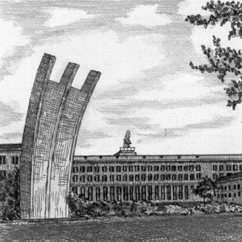 Kunstverlag Christoph Falk Einfarbige Radierung Berlin, Luftbrücken-Denkmal als Loses Blatt