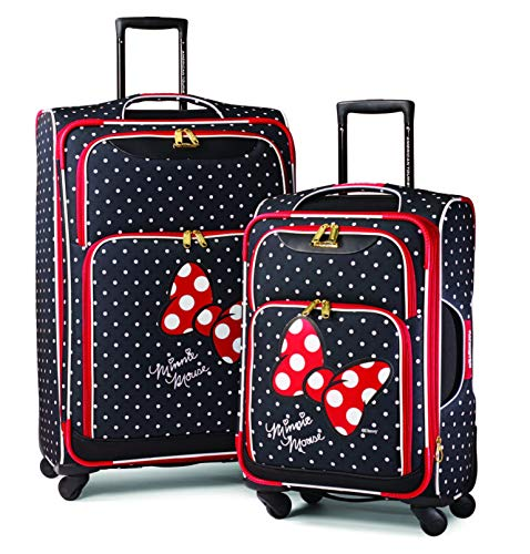 American Tourister Disney Minnie Mouse Red Bow 2-Piece Softside Luggage Set (21/28) with Spinner Wheels