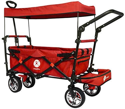 Miweba Faltbarer Bollerwagen MB-20 für Kinder - Bremse - Dach - Breitreifen - Transporttasche - Klappbar - UV-Beständig - Handwagen faltbar (Rot)