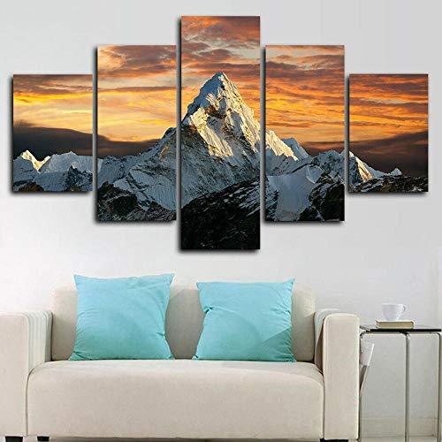 QWASD Naturaleza Cima De La Montaña Monte Everest 5 Piezas Cuadros Lienzo Decoracion Salon Modernos De Pared Papel Pintado Murales Pintura Póster Fotos Regalo