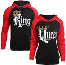 Minetom Couple Chemise Hoodie King Queen Logo Sweat /À Capuche Unisexe Pull Manches Longues Sweatshirt pour Homme Femme