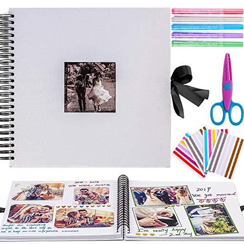 Inicia - Kit de álbum de fotos, 30x30cm, álbum de recortes para pegar con 5 bolígrafos metálicos, tijeras y 216 esquineras para fotografías, ideal para regalar o para uso propio, 60 páginas