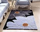 Aaron Couchtisch rutschfest Hochwertig Umweltfreundlichweicher weicher Leicht zu reinigen,Modern bedruckter Wohnzimmer-Stretch-Seidenteppich hellblau grau, 120 * 170cm