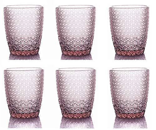 kedea Bicchieri Acqua Colorati in Vetro,Bicchieri Lavabili in lavastoviglie, Bicchieri Colorati Pasta Colore, Pave' Rosa Ametista