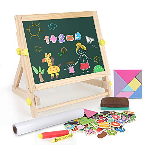 BeebeeRun Kids Tabletop Easel with Paper RollDoubleSided Whiteboard amp Chalkboard Tabletop Easel with Magnetic Letters amp Numbers and Other Magnetic Puzzle Accessories for Kids and Toddlers