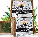Nabür – 2 Savons d'Alep  95% Huile d'olive + 5% Huile de Laurier  3-en-1  Fait à la main - Vegan Friendly  Extra-Doux, Masque...