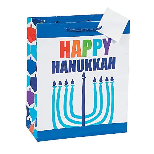 Fun Express - Happy Hanukkah Gift Bag for Hanukkah - Party Supplies - Bags - Paper Gift W & Handles - Hanukkah - 12 Pieces
