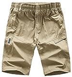 chouyatou Men's Casual Elastic-Waist Loose Multi-Pocket Chino Cargo Work Shorts (X-Large, Khaki)