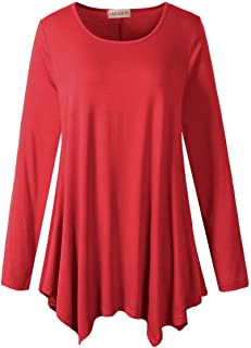 Womens Long Sleeve Flattering Comfy Tunic Loose Fit Flowy...