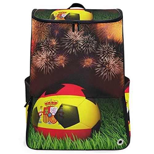 YUDILINSA Viaje Mochila,Patrón de bandera de España de balón de fútbol encendido,Universitaria Mochila,Laptop Backpack con Compartimento para zapatos