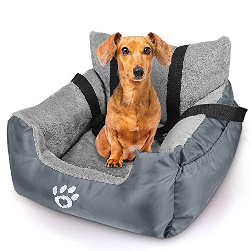 FAREYY Dog Car Seat for Small Dogs or Cats, Pet Travel Car Bed with Storage Pocket and Clip-On Safety Leash, Washable Warm Plush Dog Car Safety Seats