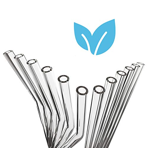 ZWEIZACK ® Glasstrohalme (12er Set) Hochwertiger Glas Strohhalm wiederverwendbar, stabil, nachhaltig | Glas Trinkhalme handgefertigt | gerade und gebogen | plastikfrei Zero Waste
