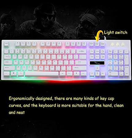 Color : G20 White Backlight HUOGUOYIN Gaming Keyboard USB Cable Mechanical Sensing Keyboard with Backlit Gaming Keyboard Waterproof 104 PC for PC Gamers Keyboard