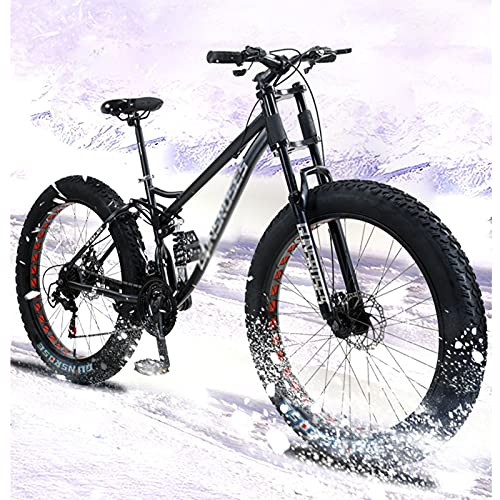 WANYE Big Fat Tire Mountain Bike Bicicletta da Uomo 26 in Telaio in Acciaio Ad Alto Tenore di Carbonio Outdoor Road Bike 7 velocità Full Suspension MTB Black-Spoke Wheel