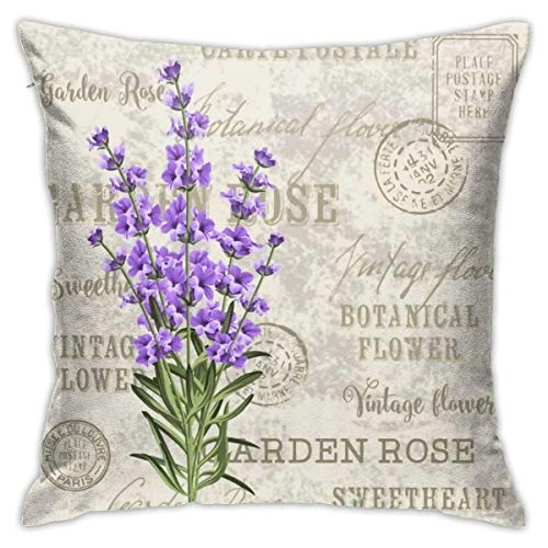 wteqofy Throw Pillow Covers Modern Decorative Throw Pillow Case Retro Purple Flowers Letters Pillow Covers Cushion Case for Room Bedroom Room Sofa Chair Car,18 X 18 Inch