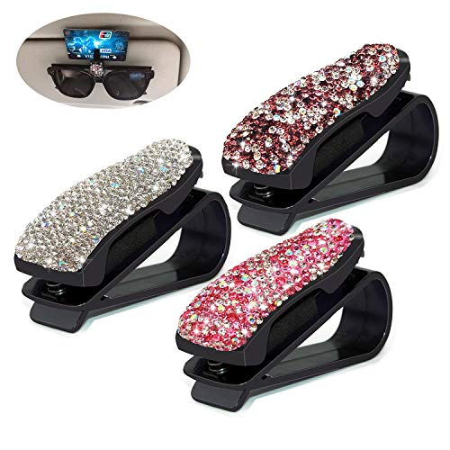 CHIMUYU Glasses Holders for Car Sun Visor, 3 Pack Bling Crystal Rhinestones Fashion Car Eyeglasses Sunglasses Hanger Mount with Ticket Card Clip for Women Girls