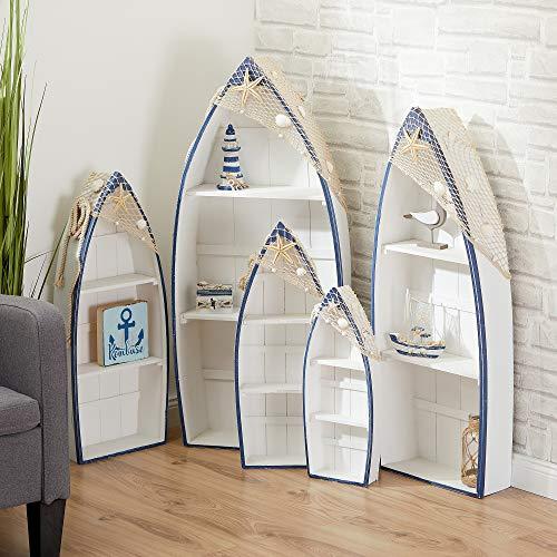 Cepewa 5er Set Regal Ruderboot Wohnzimmerregal weiß/blau inkl. Netz + Muscheln