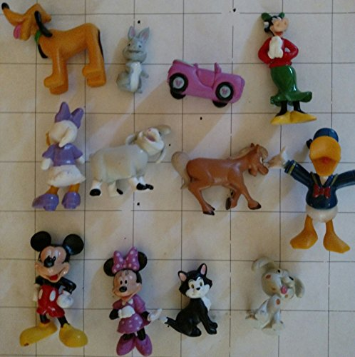 Disney Minnie Mouse Deluxe Mini Figure and Toy Set of 12 with Figaro the Cat, Mickey, Donald, Pluto and More!
