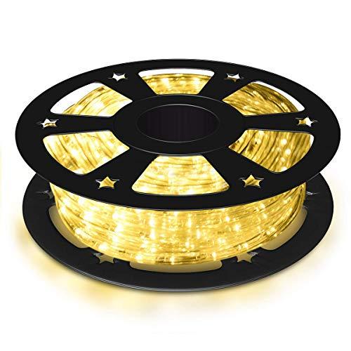 COSTWAY Tubo Luminoso a LED 30 m, 1080 LED Lampadine Decorazioni per Interni ed Esterni, per Camere, Giardini, Natale, Matrimoni, Feste (bianco caldo)