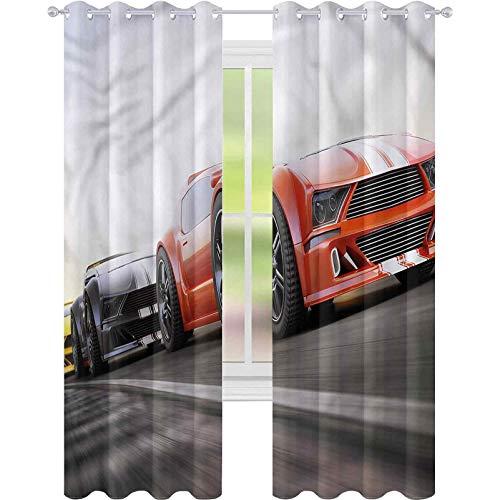 jinguizi Cortinas opacas para coche, deportes, autopista, competición, 52 x 84, oscurecimiento de habitación, decoración del hogar para habitación de los niños