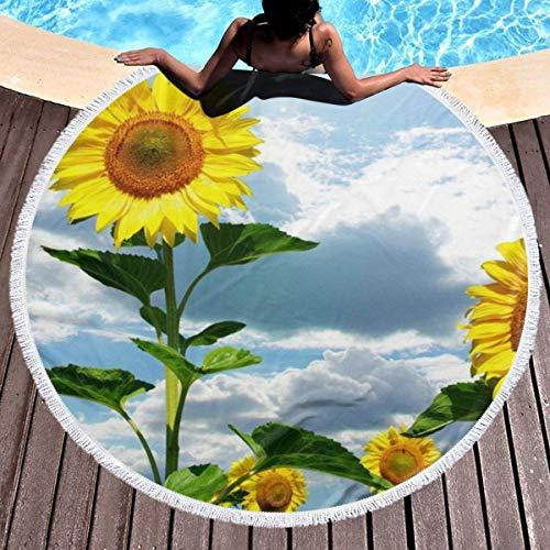 FZDB Toalla de Playa Redonda para Mujer y niña, Nube Blanca Girasol Hippie Toalla Juvenil Feliz Manta Extra Grande a Prueba de Arena Colchoneta de Yoga con borlas 59 '