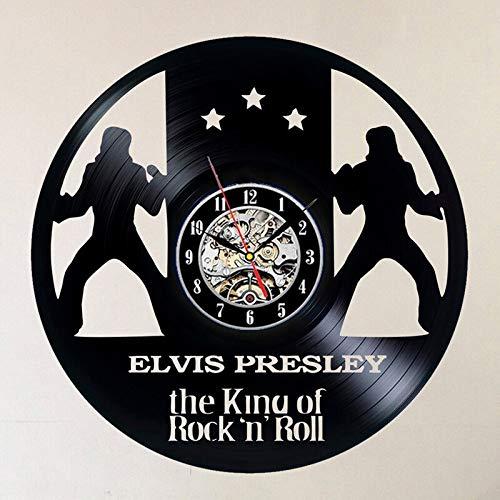 FDGFDG Reloj de Pared de Disco de Vinilo Retro diseño Moderno Rock King Cantante Estrella bailarín Disco de Vinilo Tema de música Reloj de Pared decoración del hogar