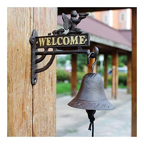 AIYU--MAOYI Hecha a Mano Moldeada Europea Diseño Ángel Inicio decoración de jardín de Hierro montado en la Pared de Bienvenida Placa Signos con Colgantes Handcranking Campana Durable