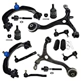 Detroit Axle - 14pc Front Upper Lower Control Arm w/Lower Ball Joints, Inner Outer Tie Rods w/Boots, Sway Bar Links Kit Replacement for 2008 2009 2010 2011 2012 Honda Accord