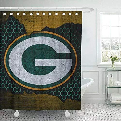 vgfjjuhn Badezimmer Dekor Dekor Duschvorhang Green Bay City Packers Fußball Grunge Metall Textur North Division Polyester-B180cmxH180cm