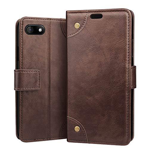 RIFFUE Hülle für Wiko Sunny 3, Wiko Sunny3 Handyhülle Premium Weiche Tasche Künstliche Leder Wallet Flip Hülle Klapphülle Brieftasche für Wiko Sunny 3 (5 Zoll) - Braun