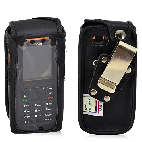 Turtleback Fitted Case Made for Sonim XP3405 Shield Phone Black Leather Rotating Removable Metal Belt Clip Made in USA