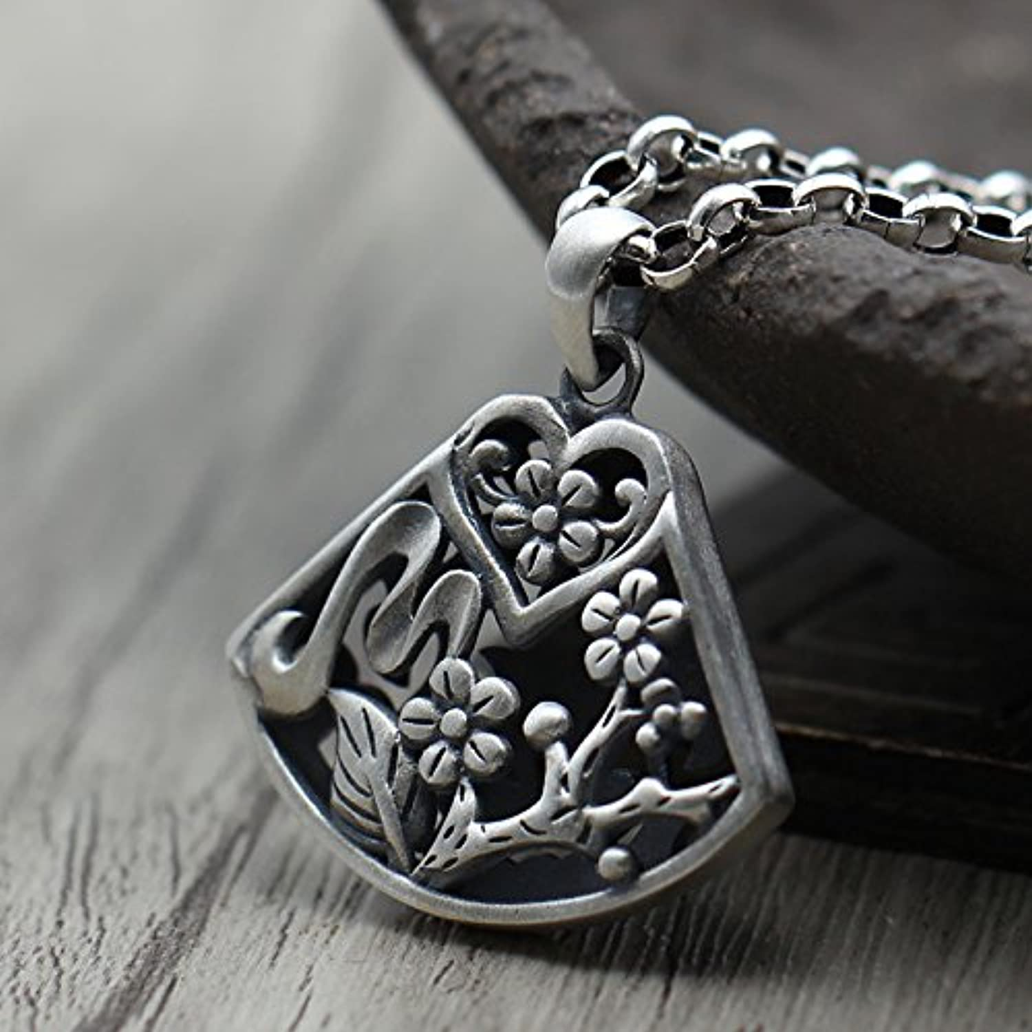 Ms Jewelry Retro Thai Silver Necklace Pendant Hollow Plum do Old Lotus Lotus Leaf Necklace Pendant S925 Silver