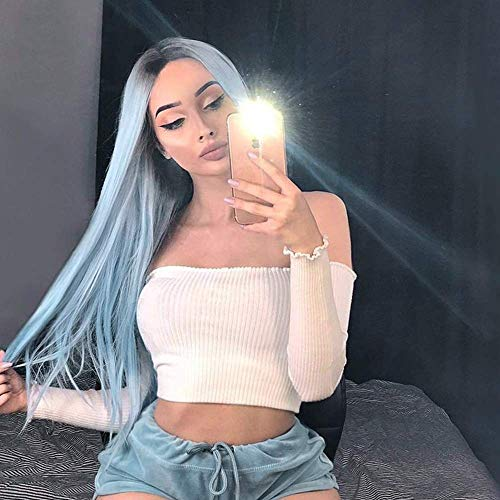 Ombre Blue Wig with Dark Roots Long Straight Synthetic Wig 2 Tones for Women Glueless Heat Friendly Ombre Wigs for Cosplay 22 Inches