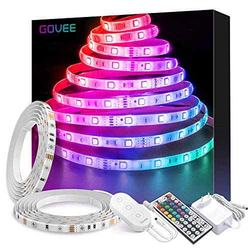 Striscia LED RGB 10M, Govee LED Striscia Impermeabile 5050 Cambiamento di Colore Kit Completo con 44 Tasti Telecomando IR & Alimentatore Led Strip Illuminazione per Giardino, Bar, Festa