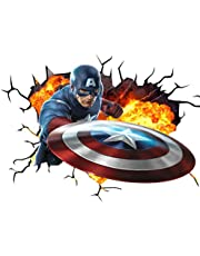 Chicbanners Marvel Avengers Captain America V001 muur Crack muur Smash muursticker zelfklevende poster muur kunst maat 1000mm breed x 600mm diep (groot)