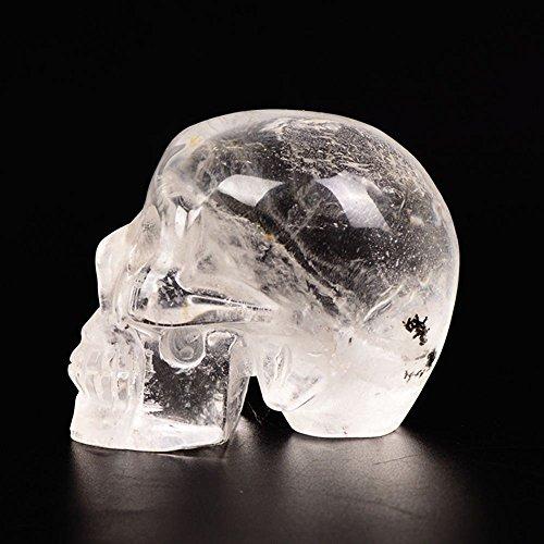 yujianni Quartz Crystal Skull Healing Crystal Stone Human Reiki Skull Figurine Statue Sculptures3'' (Clear)