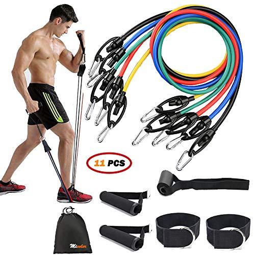 Misoler Fitnessbänder, Bis zu 150 lbs Expander, Widerstandsbänder Set mit 5 Fitness Tube, Griffen, Türanker und Fußschlaufen, Ideal für Muskelaufbau Yoga Pilates,Physiotherapie,Home Gyms Workout