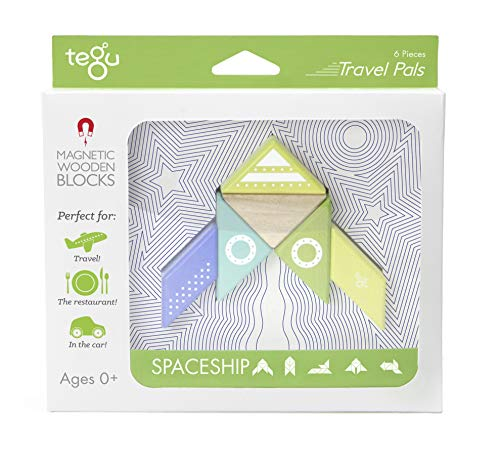 6 Piece Tegu Travel Pal Magnetic Wooden Block Set, Spaceship