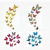48 pegatinas de mariposas 3D para pared, decoración para el hogar de dormitorios y bodas, 48 unidades
