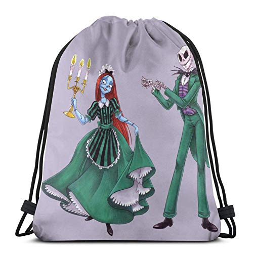 Yuanmeiju Jack & Sally Drawstring Backpack Is Portable, Large Capacity and Durable Classic Bolsa con cordón, Unisex, Suitable For Outdoor Sports