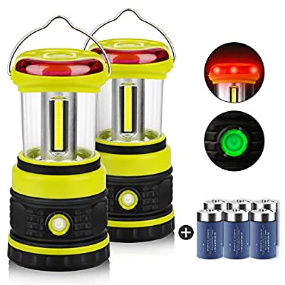 LED Camping Lanterns, 2 Pack COB Battery Lantern 6D Batteries Included 1200LM, 4 Light Modes, Waterproof Lantern Flashlight, Perfect Tent Light for Power Outage, Hurricane, Survival, Hiking