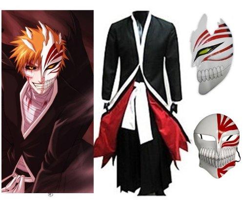 Japonés Anime Bleach Ichigo Kurosaki Cosplay Kimono Abrigo+Ichigo Kurosaki máscara conjunto, tamaño S (altura 148-155 cm, peso 40-50 kg)