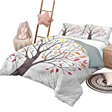 Nomorer 3 Piece Coverlet Set Queen Size Forest Bedspread Bed Cover for All Season Forest Trees with Leaves