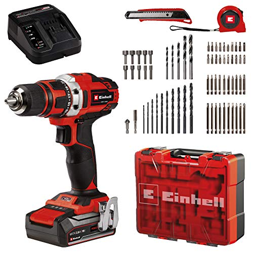 Einhell Cordless Drill/Screwdriver Set TE-CD 18/40 Li +69 Power X-Change (Li-Ion, 18 V, 2 Speeds, 40 Nm, Incl. 2.5 Ah Battery and Charger, Case + 69-Piece Set of Accessories)