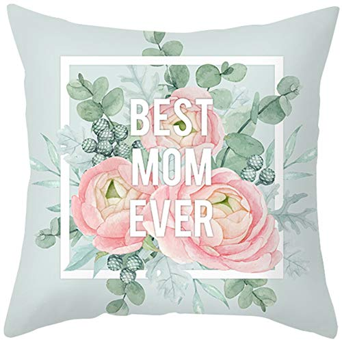 KnBoB Funda de Almohada Azul Claro 40 x 40 cm Best Mom Ever Flores, Hojas Poliéster Estilo 14