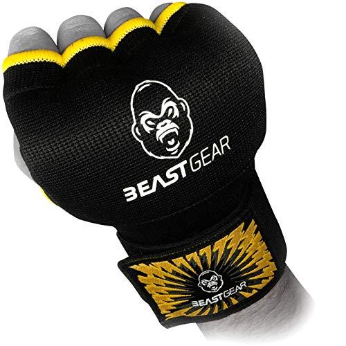 Beast Gear Guanti interni da boxe avanzati, con gel di qualità superiore, per sport di combattimento, MMA, arti marziali, Black Yellow, S